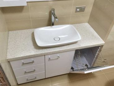 Тумба в ванную с корзиной для белья №64