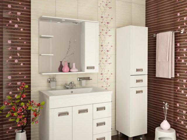 Гарнитур в ванную с пеналом вариант №73