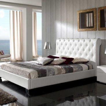 Кровать в спальню с мягким изголовьем №16