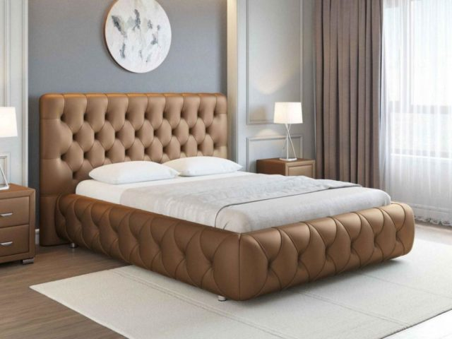 Двуспальная кровать в каретной стяжке №2