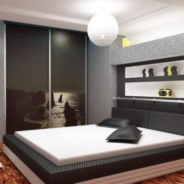 Мебель в спальню в черно-белом цвете №9