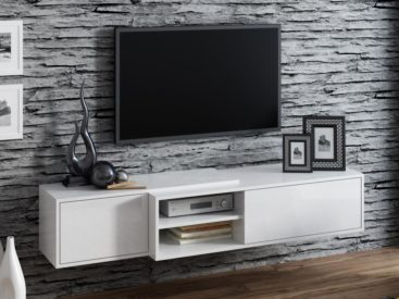 Белая тумба под телевизор вариант №7
